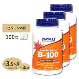 [3個セット]ビタミンB-100(Bコンプレックス)タイムリリース 100粒 NOW Foods(ナウフーズ)