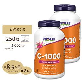 [2個セット]ビタミンC-1000 with ローズヒップ・バイオフラボノイド 1,000mg 250粒 NOW Foods(ナウフーズ)