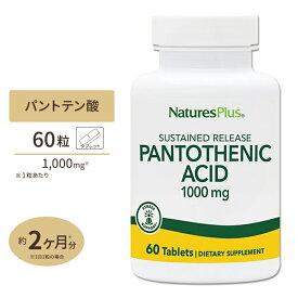 パントテン酸 タイムリリース 1000mg 60粒《約2ヵ月分》美容・健康のサポート/サプリ/ネイチャーズプラス