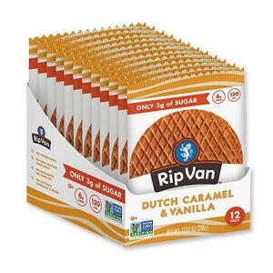 ローシュガーワッフルクッキー ダッチキャラメル&バニラ 12袋入り(各33g)(13.92oz)Rip Van Wafels(リップバンワッフルズ)