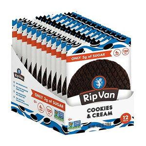 ローシュガーワッフルクッキー クッキー&クリーム 12袋入り(各33g)(13.92oz)Rip Van Wafels(リップバンワッフルズ)