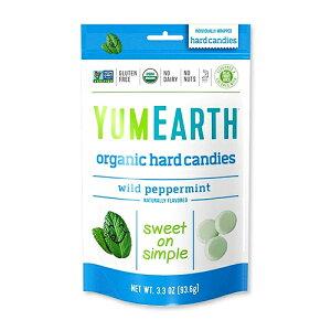オーガニックハードキャンディー ワイルドペパーミント 93.6g YumEarth(ヤムアース)飴/個包装/USDA/オーガニック/ナッツフリー/グルテンフリー