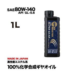 ギヤオイル 80w-140 1L API GL-5.6 スピードマスター PRO SUPER GEAR (プロスーパーギヤ) LSD対応 特殊エステル+PAO 100%化学合成油 高性能ギヤオイル オススメです!車用 カー用品