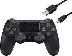 【新品】【即納】ワイヤレスコントローラー (DUALSHOCK 4) ジェット・ブラック (CUH-ZCT2J) CYBER PS4用コントローラー充電ケーブル3m