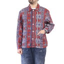 NIGEL CABOURN ナイジェル・ケーボン BUTTON THROUGH DECK SHIRT PRINTED LINEN RED AUTHENTIC LINE