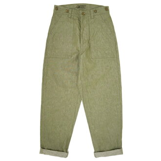 NIGEL CABOURN UTILITY PANT COTTON LINEN DENIM OLIVE MAIN LINE