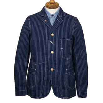 FREEWHEELERS CONDUCTOR JACKET LATE 1800s STYLE WORK CLOTHING UNION SPECIAL OVERALLS INDIGO WABASH STRIPE