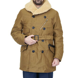 FREEWHEELERS WINTER AVIATION COAT 1920s STYLE AVIATION CLOTHING HEAVY WEIGHT MOLESKIN YARN-DYED KHAKI