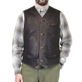 FREEWHEELERS BRIDGEPORT OUTDOOR STYLE HUNTING VEST GREAT LAKES GMT. MFG.CO. BLACK DEER SKIN