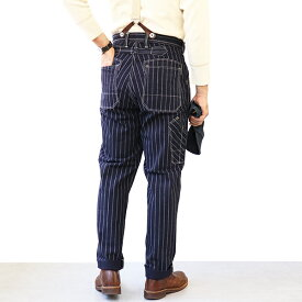 FREEWHEELERS フリーホイーラーズ GANDY DANCER OVERALLS LATE 1890s 〜 STYLE WORK CLOTHING 10.5oz DISCHARGE PRINTED TWILL NAVY CHAIN STRIPE