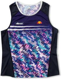 【ラッキーシール対象】Ellesse(エレッセ)テニスゲームシャツ・パンツツアークルーEW09101ネイビー