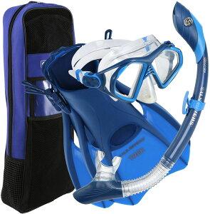 アクアスフィア水泳水球競技マスク+スノーケル+フィン+バッグセット(メンズ) アドミラル4点セット(大人用) ダブルブルー281069