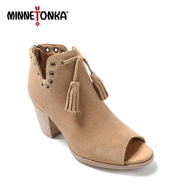 ミネトンカ 正規品 SALE(返品交換不可) MINNETONKA MARGOT BOOTIE レディース スウェード オープントゥ ブーティ 靴