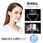 10枚透明マウスシールド夏用飛沫防止笑顔が見える透明マスク個包装曇り止め洗える繰り返し