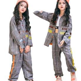 キッズ ダンス衣装 キッズ ヒップホップ ダンス衣装 セットアップ ギンガムチェック ジャケット パンツ 上下 男の子 女の子 ストリート系 かっこいい キッズダンス 韓国 ジュニア B系 演出服 hiphop
