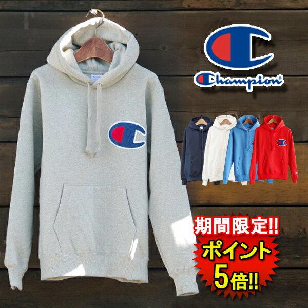 チャンピオン【Champion】ビッグロゴプルオーバー(c3e127) Men's 3color □ CHAMPION BIG LOGO HOOD