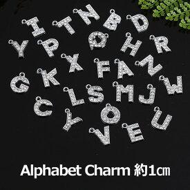 アルファベット チャーム シルバー キーホルダー イニシャルパーツ ファスナー パーツ キーホルダー 1cm(A〜R)