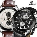 高級感漂うベゼルに文字盤のクロノグラフがベストマッチ!上品な革ベルトとの相性もよく、ワンランク上の男を演出させてくれる腕時計!