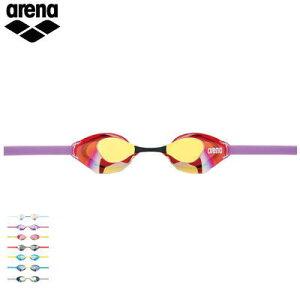 arena アリーナ スイム ゴーグル 水中メガネ AQUAFORCE SWIFT くもり止めスイミンググラス ノンクッションタイプ ミラー加工 競泳用 メンズ レディース 男性用 女性用 AGL-130M
