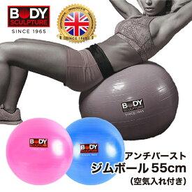 BODY SCULPTURE バランスボール 55cm アンチバースト ジムボール ダイエット器具 ダイエット 骨盤補正 体幹運動 ストレッチ エクササイズ トレーニング 筋トレ バランス 空気入れ付き