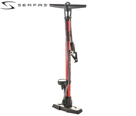 SERFAS FP-200 AF-T1【レッド/ブラックロゴ】サーファス フロアポンプ 仏/米/英 自転車[SPOKE-NET]