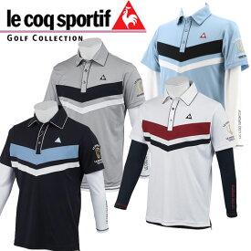 ルコック ゴルフウェア メンズ 半袖 Vライン ポロ シャツ & Vネックインナー セットアップ / QGMNJA02W 19sscz
