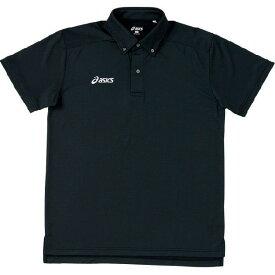 asics アシックス トレーニングウエア ボタンダウンシャツ 半袖 XA6105 ユニセックス ブラック<店頭在庫限り>