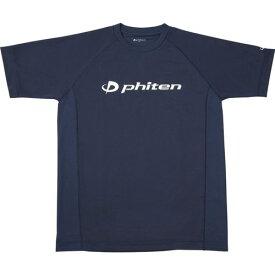 phiten ファイテン RAKUシャツ SPORTS[吸汗速乾] 半袖 ロゴ入リ ネイビー[ロゴ白] L JG169005
