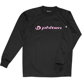 phiten ファイテン RAKUシャツ SPORTS[吸汗速乾] 長袖 ロゴ入リ ブラック[ロゴピンク] L JG180005