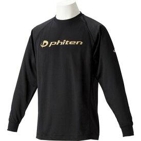 phiten ファイテン RAKUシャツ SPORTS[吸汗速乾] 長袖 ロゴ入リ ブラック[ロゴ金] LL JG180206