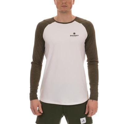 SAYSKY セイスカイ ランニング長袖Tシャツ Corporate LS Tee 6MRLS5 White/Green Melange<店頭在庫限り>