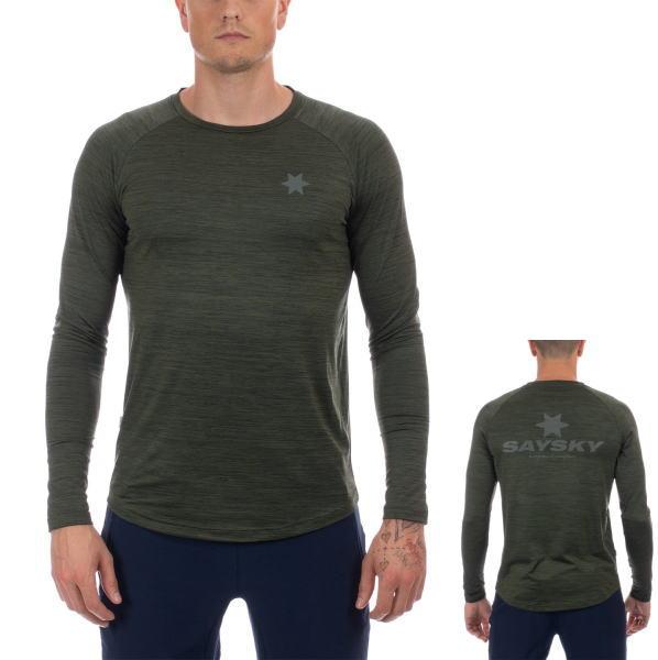SAYSKY セイスカイ ランニング 長袖Tシャツ CLASSIC ILLUMINATE LS TEE AMRLS7 GREEN MELANGE