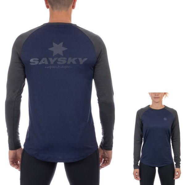 SAYSKY セイスカイ ランニング 長袖Tシャツ CLASSIC ILLUMINATE LS TEE AMRLS8 BLUE / DARK GREY MELANGE