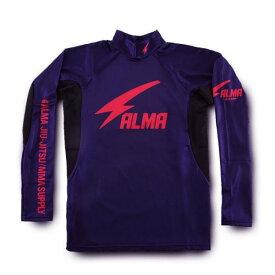 ALMA アルマ 柔術・総合格闘技 サンダー ロングラッシュガード ハイネック長袖Tシャツ ALRH1 Lサイズ 紫<在庫僅少>