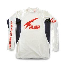 ALMA アルマ 柔術・総合格闘技 サンダー ロングラッシュガード ハイネック長袖Tシャツ ALRH1 Lサイズ 白<在庫僅少>