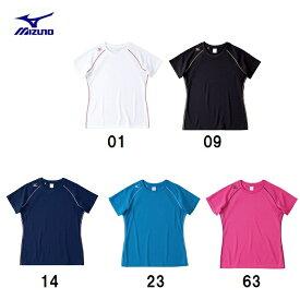 【ネコポス対応】ミズノ MIZUNO バレー ランニング ナビドライ 半袖ワンポイントパイピングTシャツ(汗速乾 UVカット レディース32MA5336