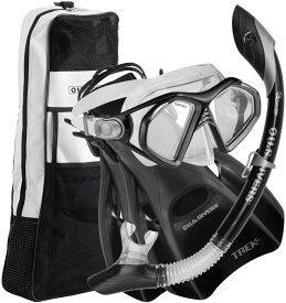 アクアスフィア水泳水球競技マスク+スノーケル+フィン+バッグセット(メンズ) アドミラル4点セット(大人用) ブラック278685