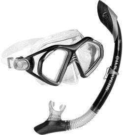 アクアスフィア水泳水球競技運動会小物マスク&スノーケルセット(メンズ) アドミラル2点セット ブラック240090