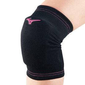MIZUNO (ミズノ) ジュニア用 膝サポーター(2個セット) バレーボール サポーター ジュニア F ブラック×ベリーピンク V2MY801197