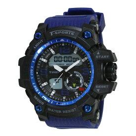 スポーツアクセサリー 時計 クレファー アナデジウォッチ ブルー TS-AD095-BL
