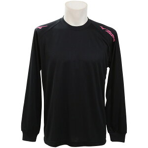 MIZUNO (ミズノ) バレーボール 長袖Tシャツ 長袖プラクティスシャツ ブラック×マゼンタ V2JA940497