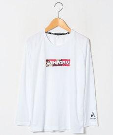 ● ATHFORM(アスフォーム) ジュニアスポーツウェア Tシャツ ジュニア長袖グラフィックTシャツ ボーイズ ホワイト AF-F19-012-009