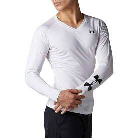 ● UNDER ARMOUR (アンダーアーマー) ゴルフ アクセサリー 20F UA HG FITTED LONG SLEEVE V-NECK HEATHER メンズ WHT/BLK 1353523 100