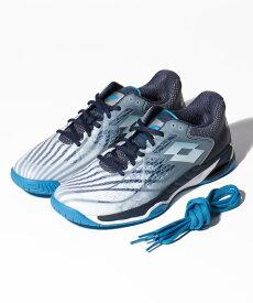 ● LOTTO (ロット) メンズテニスシューズ MIRAGE 100 SPD メンズ ALL WHITE/DIVA BLUE/NAVY BLUE 210732