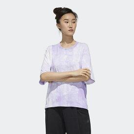 ● adidas (アディダス) レディーススポーツウェア Tシャツ W MHE クラウディーダイ Tシャツ レディース パープルティント GUN69 FM5258