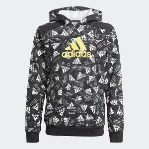 ● adidas (アディダス) ロゴ パーカー / Logo Hoodie ジュニアスポーツウェア スウェット ボーイズ ブラック/イエロー/マルチカラー JKX64 GJ6636