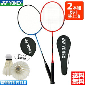 バドミントン ラケット ヨネックス YONEX 2本セット 初心者向け 新入部員 親子練習セット B4000G MP9LG マッスルパワー9ロング ヨネックス YONEX ガット張り上げ済 2本組 シャトル2個付き badminton rack
