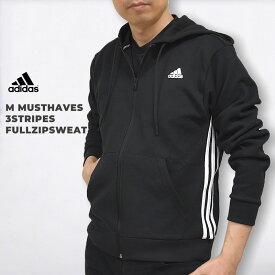【300円OFFクーポン】アディダス adidas メンズ パーカー スウェット トップス ウエア M MUSTHAVES 3ストライプス フルジップスウェット DX7657 黒