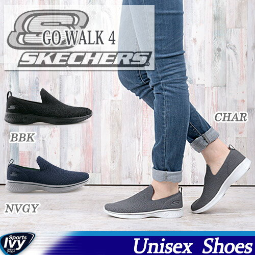 スケッチャーズ SKECHERS GO WALK 4 14918-BBK/CHAR/NVGY
