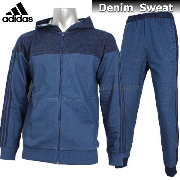 adidas アディダス デニム スウェット ジャケット パンツ 上下 DUP65 CD2999 DUP64 CD3002 ナイトマリン
